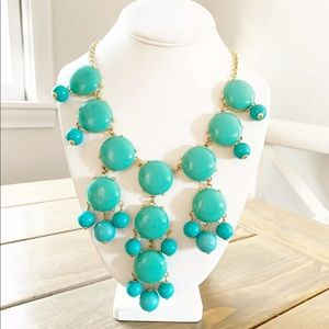 J CREW Bubble Necklace  Aqua Turquoise Blue Bib